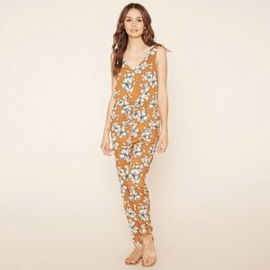 Rust Brown & White Floral Sleeveless Jumpsuit